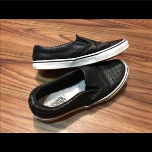 Black Slip on Vans faux leather